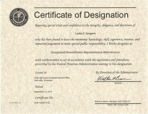 FAA Certificate of Designation
